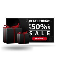 Black friday sale, up to 50 off. Modern black 3D discount banner with gifts