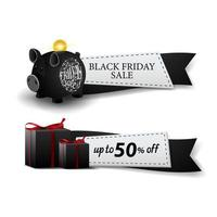 Black Friday sale, two web banners ribbon form with piggy bank and gifts