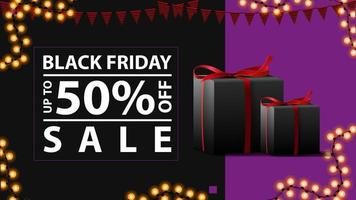 Black Friday sale, up to 50 off. Modern horizontal discount banner with gifts