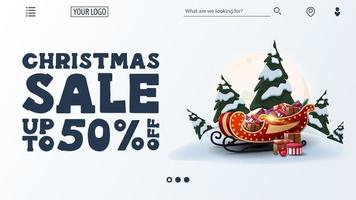 Christmas sale, up to 50 off, white discount web banner with large offer, navigation of website and Santa Sleigh with presents