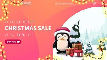 Special offer, Christmas sale, up to 30 off, pink discount web banner with penguin in Santa Claus hat with presents, garland frame, navigation of website and button with offer