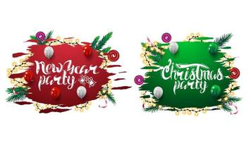 Collection of Christmas party invitation web banners with abstract ragged shapes decorated with Christmas tree branches, candies and garlands isolated on white