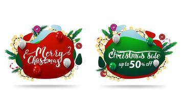 Christmas sale, Merry Christmas, discounts web elements in liquid style with abstract fluid shapes decorated with Christmas tree branches