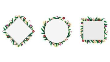 Set of geometric frames made of Christmas tree branches and garlands isolated on a white background.