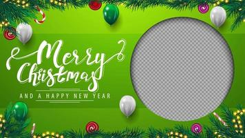 Merry Christmas and Happy New Year, green template of greeting postcard with frame of Christmas tree branches, garland, balloons and beautiful greeting lettering