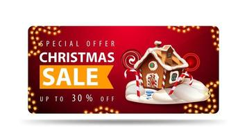 Special offer, Christmas sale, up to 30 off, red banner with Christmas gingerbread house, orange ribbon with offer and Christmas gingerbread house