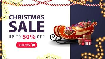 Christmas sale, up to 50 off, white and blue discount banner with Santa Sleigh with presents, garlands and offer with button