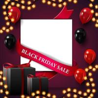 Black Friday sale, discount square template for your art in paper sheet form vector