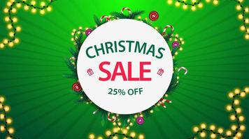 Christmas sale, up to 25 off, green and white discount banner with round frame of Christmas tree branches and garlands