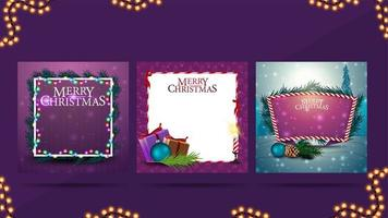 Set of Christmas blank greeting templates with copy space. Templates for your creativity with Christmas decorations