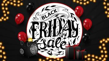 Black Friday sale, horizontal web banner for your business with balloons, gifts, piggy bank and beautiful lettering.