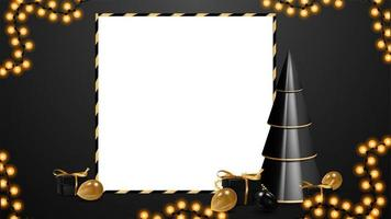 Black and white Christmas discount blank template with copy space. Volumetric geometrical Christmas tree with presents in black and gold colors