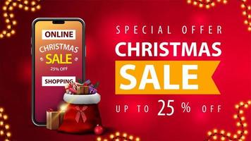 Online Shopping, Special offer, Christmas sale, up to 25 off, red discount web banner with blurred background, smartphone with offer on screen