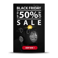 Black Friday sale, up to 50 off. Modern vertical black discount banner with piggy bank