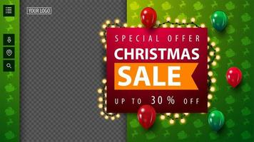 Special offer, Christmas sale, up to 30 off, green Christmas discount blank template for your creativity with garland, copy space and flying balloons