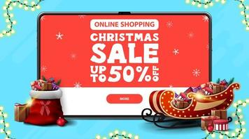 Online Shopping, Christmas sale, up to 50 off, discount banner with large tablet with offer and button on screen and Santa Claus sleigh and bag with presents