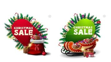 Christmas sale, red and green discount banners in abstract forms decorated with Christmas elements, Santa sleigh and Santa bag