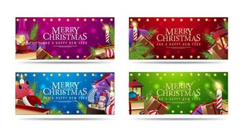 Set of Christmas horizontal greeting banners decorated with piles of Christmas presents