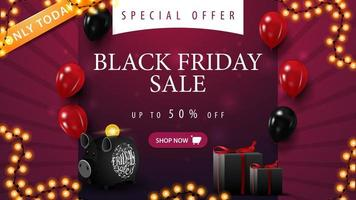 Only today, special offer, black Friday sale, up to 50 off. Purple discount banner with balloons, gifts, piggy bank and garland