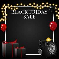 Black Friday sale, discount square template for your art with copy space, gifts and piggy bank