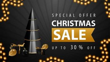 Special offer, Christmas sale, up to 30 off, white and black discount web banner with volumetric geometrical Christmas tree with presents in black and gold colors