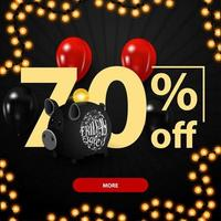 Black Friday sale, up to 70 off, discount banner with large numbers, piggy bank and balloons