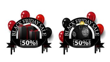Black Friday sale, up to 50 off, two round discounts banners with piggy bank, balloons and gifts isolated on white background for your arts vector