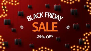 Black Friday sale, up to 25 off, discount red banner with gifts tied with ropes to the ceiling and floating in the air vector
