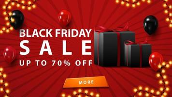 Black Friday sale, up to 70 off, discount red banner in minimalistic modern style with balloons and gifts.