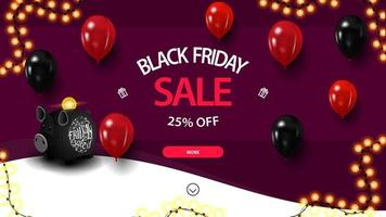 Black Friday sale, up to 25 off, discount purple banner with piggy bank and balloons for website