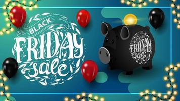 Black Friday sale, horizontal blue discount banner with beautiful lettering, piggy bank and garland