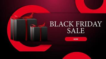 Black Friday sale, modern horizontal discount banner with large red circles and gifts