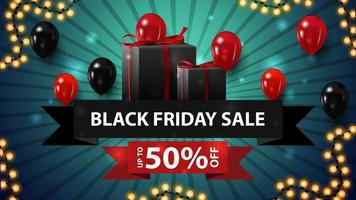 Black Friday sale, up to 50 off, modern discount banner with ribbon form, gifts and balloons