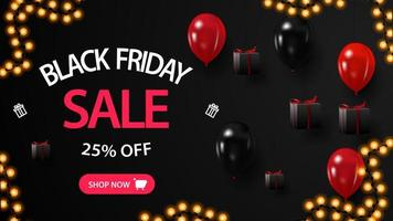 Black Friday sale, up to 25 off, creative black banner with gifts near a black wall and balloons vector