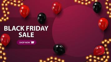 Black Friday sale, discount template with copy space, place for your photo, and balloons