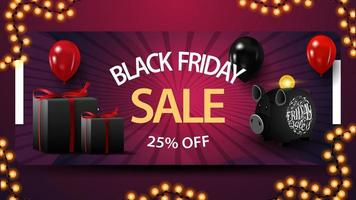 Black Friday sale, up to 25 off, discount banner with piggy bank, balloons and gifts.
