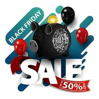 Black Friday sale, modern discount banner with balloons and piggy bank isolated on white background for your arts