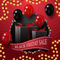 Black Friday sale, square discount banner for your creativity with big circle, garland, ribbon and balloons