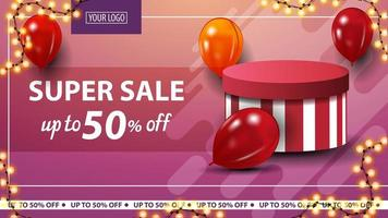 Pink horizontal discount banner with red and yellow balloons and gift box
