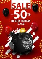 Black Friday sale, up to 50 off, red vertical discount banner in minimalistic modern style with piggy bank and balloons