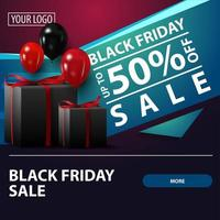 Black Friday sale, up to 50 off, square discount banner with gifts for your website