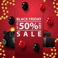 Black Friday sale, up to 50 off, red square template for your creativity with gifts, piggy bank and balloons