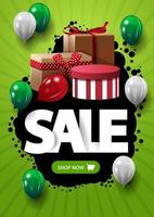 Sale, vertical green discount banner with button, blot, balloons and gift boxes