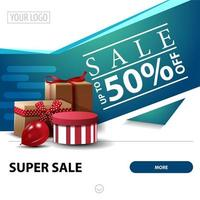 Sale, up to 50 off, white and blue square discount banner for website with gifts