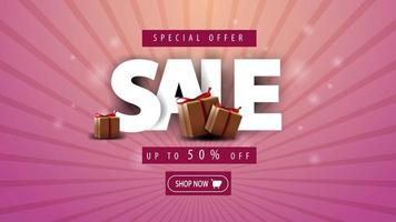 Special offer, sale up to 50 off, horizontal pink discount banner with gift boxes