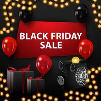 Black Friday sale, black discount banner with a hole in the wall, balloons, gifts, piggy bank and garland