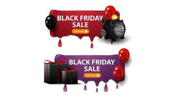 Black Friday sale, two horizontal discounts banners with piggy bank, balloons and gifts isolated on white background