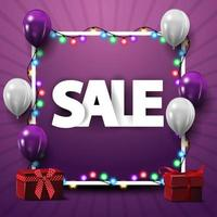Square template for discount banner with frame, white and purple balloons and gifts
