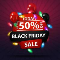 Black Friday sale, up to 50 off, round discount banner with garland and balloons vector