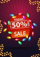 Today, sale, up to 50 off, round red banner with colorful garland